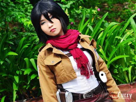 Mikasa Ackerman Cosplay Makeup Mikasa arching an eyebrow atMikasa Ackerman Cosplay Makeup